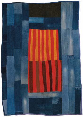 Annie Mae Young, Work-clothes quilt with center medallion of strips, 1976; denim, corduroy, synthetic blend; 108 by 76.5 inches.