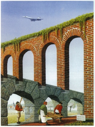 Jos de mey, Two Individuals Take the Long Way Around an Aqueduct, 1990