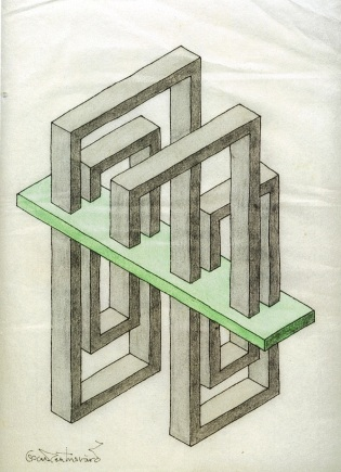 Oscar Reutersvard, Criss-Cross Paradox colored felt-tip pen drawing, undated