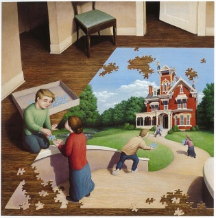 Rob Gonsalves, Unfinished Puzzle, acrylic on canvas, 1991