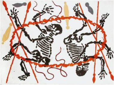 The two brothers Tjangala in Warlugulong by Clifford Possum Tjapaltjarri. Acrylic on calico. 83x137 cm.